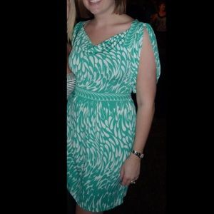 BCBG Green and white dress